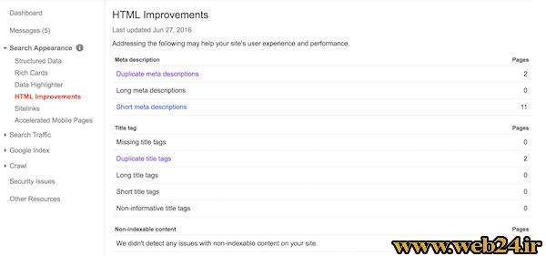 بهبود html در سرچ کنسول گوگل