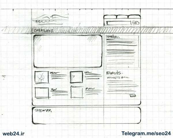اسکچ یا طرح اولیه برای طراحی سایت